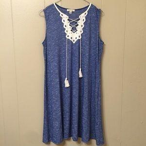 Max Studio Women's S Blue Drawstring Tassel Dress